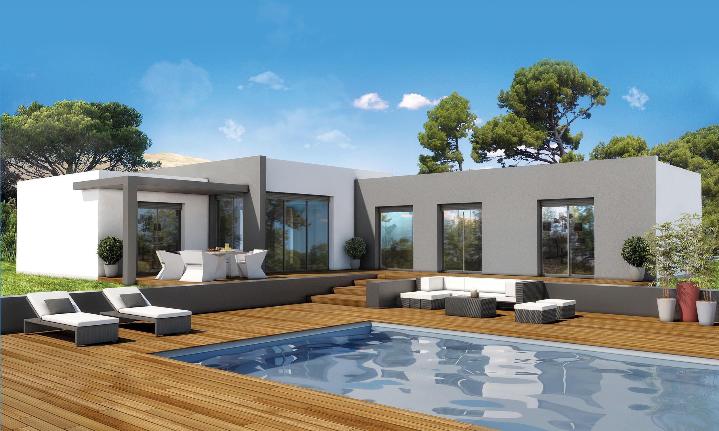 Maison Contemporaine Plain Pied Glam Avec Plans Maisons Bati France Constructeur Maison Individuelle Languedoc Roussillon