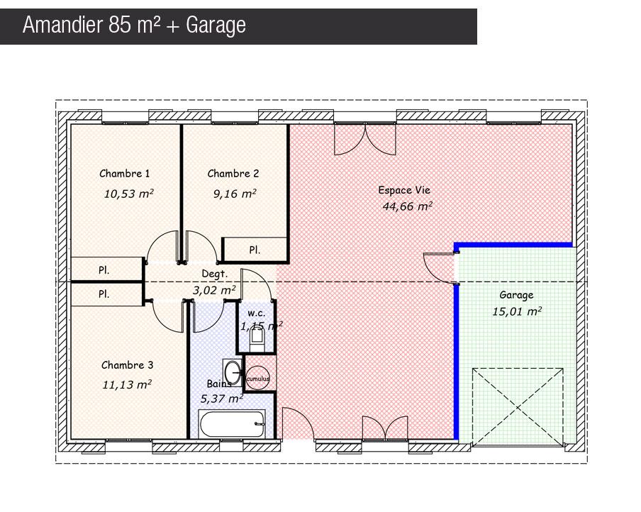 Maison mod le maison amandier traditionnelle mod le for Modele maison 85 m2