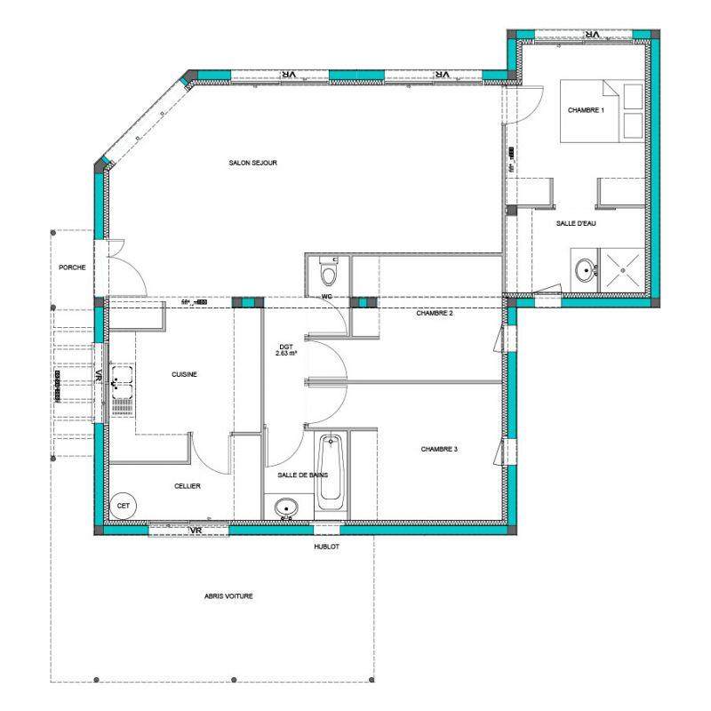 maison mod le baobab mod le maison contemporain maisons bati france constructeur maison. Black Bedroom Furniture Sets. Home Design Ideas