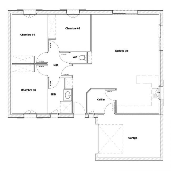 Modèle de maison traditionnelle Alizée de 107 m² - Maisons Bati-France