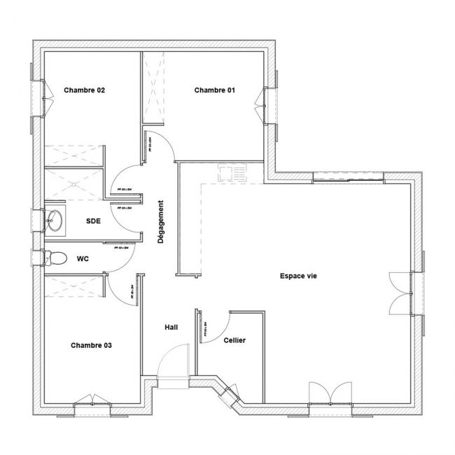 Modèle de maison en L 3 chambres - Estival - Maisons Bati-France