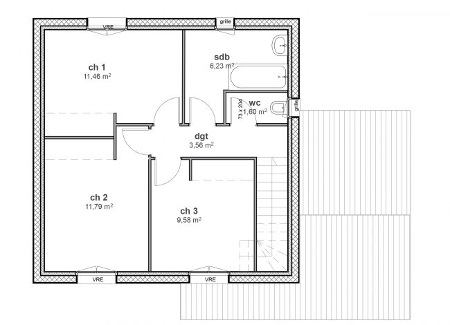 Plan de maison à étage traditionnelle - 01 Urban - R1- Maisons Bati-France