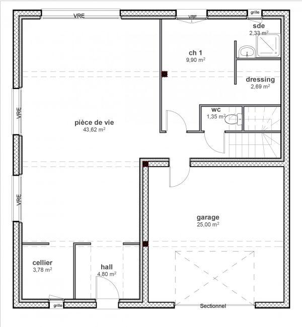 Modèle de maison à étage contemporain - Maisons Bati-France