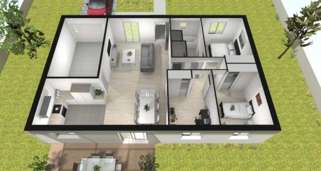 03 - Plan de maison Cosy contemporaine - 89 m² - Maisons Bati-France