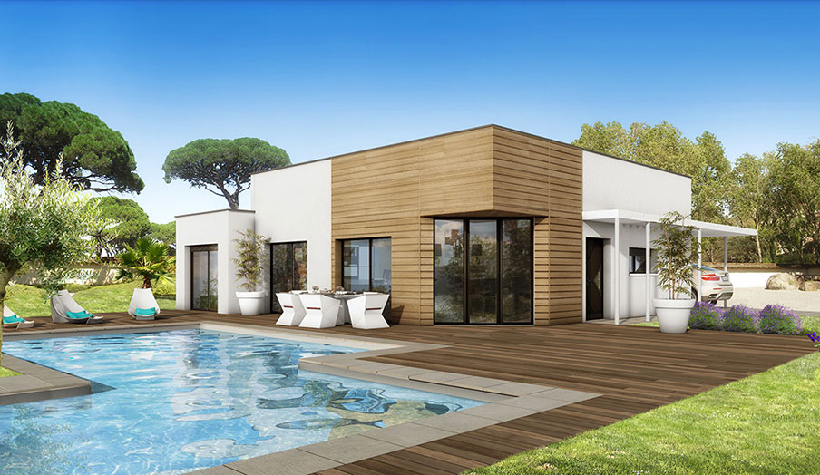 Sorède, villa contemporaine, sur son terrain de 612 m² 4 faces