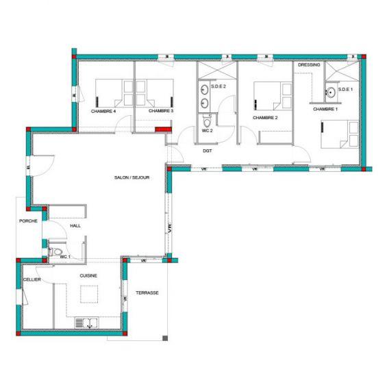 maison mod le palmier mod le maison contemporain maisons bati france constructeur maison. Black Bedroom Furniture Sets. Home Design Ideas