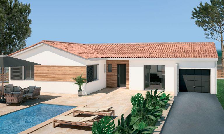 Montesquieu des Albères, villa rt 2012 moderne sur terrain en diffus de 1031m²