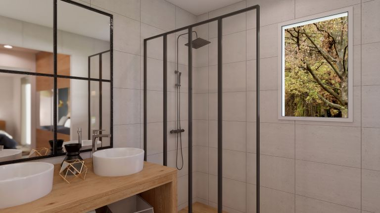 Modèle de maison Boho - decoration salle de bain douche - MBF