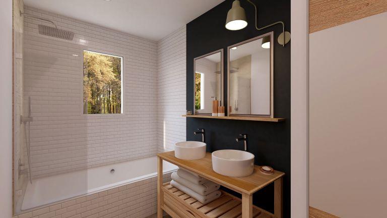 Modèle de maison Boho - decoration salle de bain baignoire - MBF