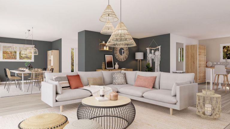 Modèle de maison Boho - decoration pièce de vie salon - MBF